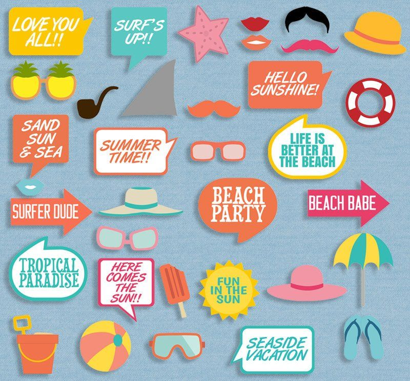 35 X Beach Theme Diy Printables Summer Party Props With Images