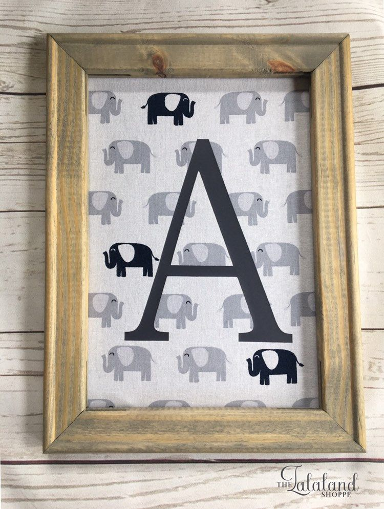 Elephant Baby Boy Nursery Wood Frame Wall Sign With Name