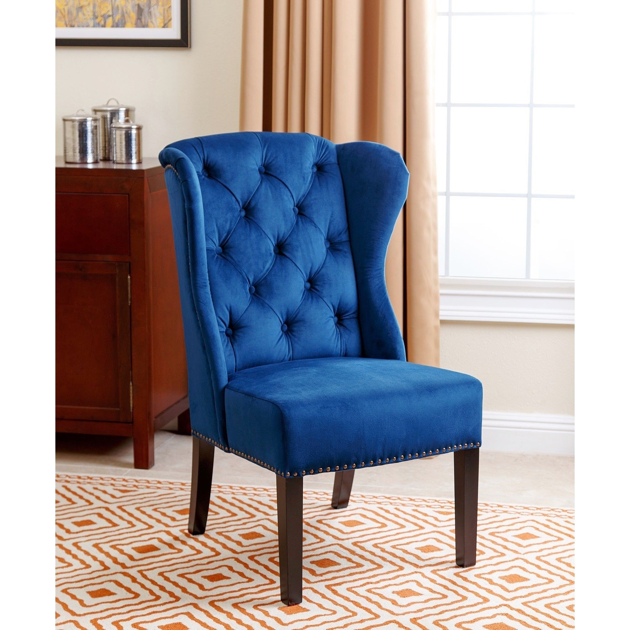 Navy Dining Room Chairs Staples Chair Sale Abbyson Sierra Tufted Blue Velvet Wingback