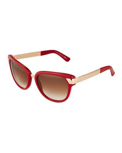 Two-Tone Acetate Sunglasses, Chocolate