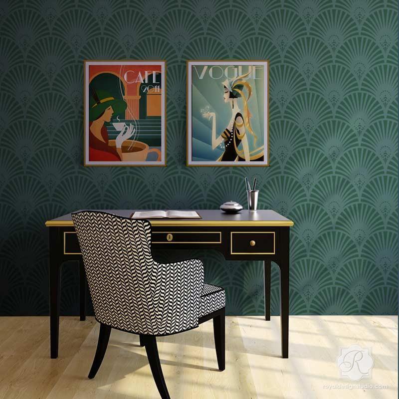 Designer Retro Wallpaper Look Using Gatsby Glam Art Deco Wall Stencils Royal Design Studio