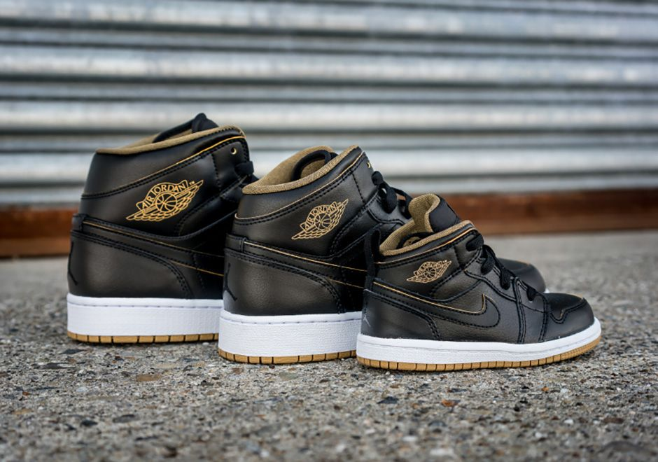 Jordan 1 Mid Black Metallic Gold Spring 2016 | SneakerNews.com