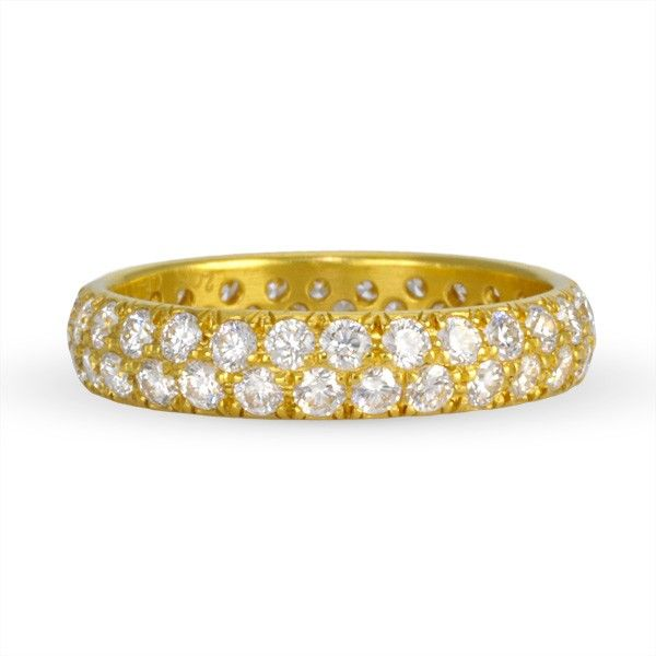 Caroline Ellen Two Line Pave Diamond Gold Band Ring