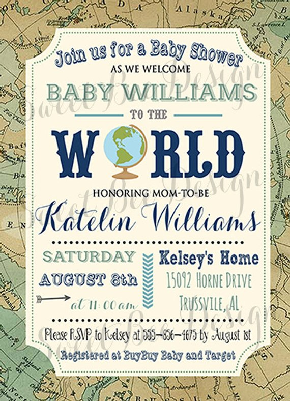 Welcome To The World Baby Shower Invitation Baby Boy Or Baby Girl