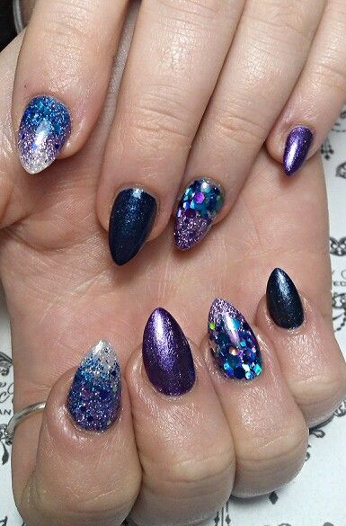 Fluid Acrylic Nails With Glittergasm Glitter Holo Lilac Water Snow White And Delerium Mix Also Kleancolor Metallica Shire Metallic Purple