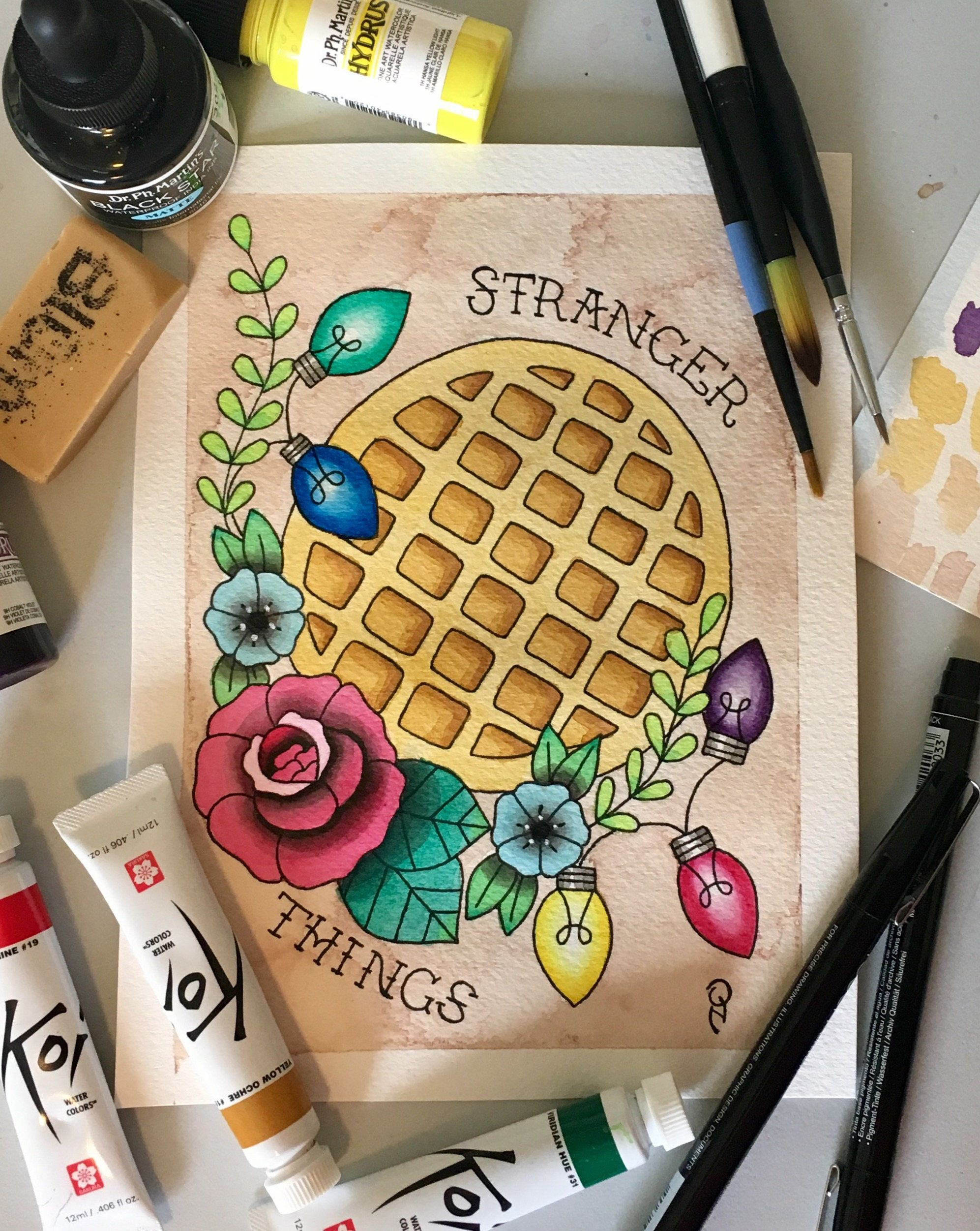 Stranger things eleven waffle christmas lights tattoo for Eleven tattoo stranger things