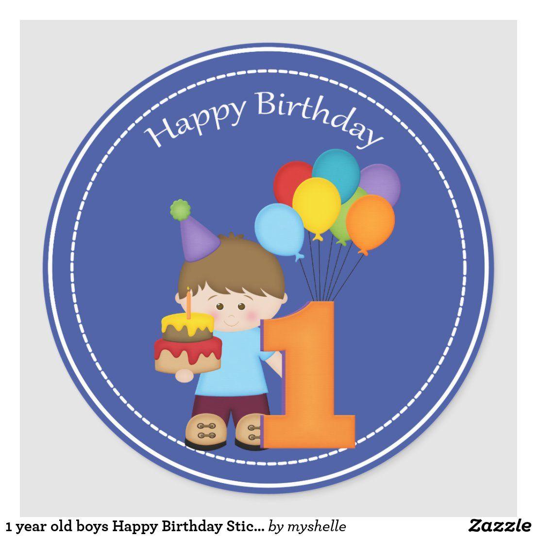 1 year old boys Happy Birthday Sticker in