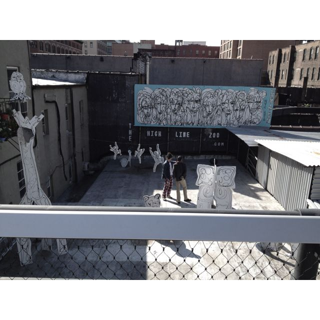 Fake Paper made Zoo in the middle of the Highline Park in New York