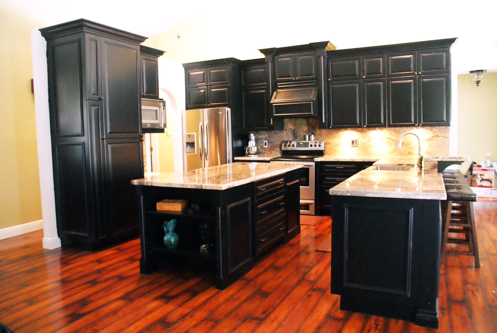 Black distressed cabinets our custom built kitchens - Distress kitchen cabinets ...
