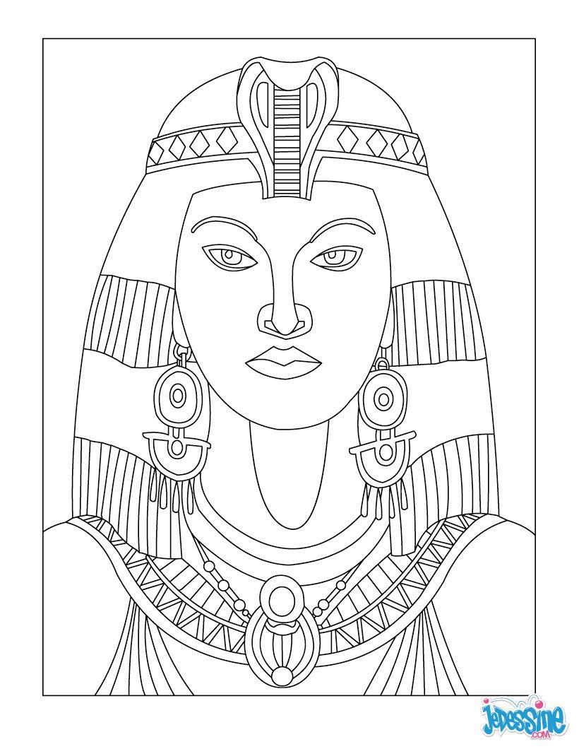 Coloriage A Imprimer Egypte Antique.Coloriage Cleopatre Coloriages Art Egyptien Dessin