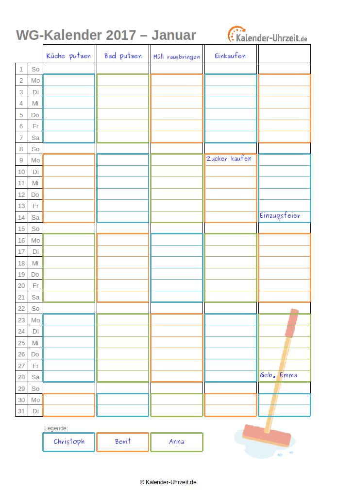 WG-Planer 2017 für 3er-WG als PDF. #KalUhr Weitere Vorlagen: http ...