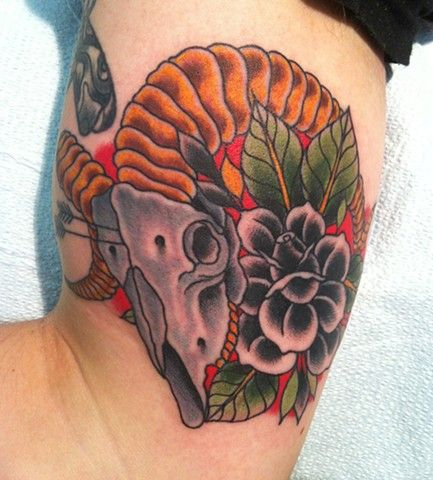 Gallery For Traditional Ram Skull Tattoo Skull Tattoo Tattoos Ram Skull