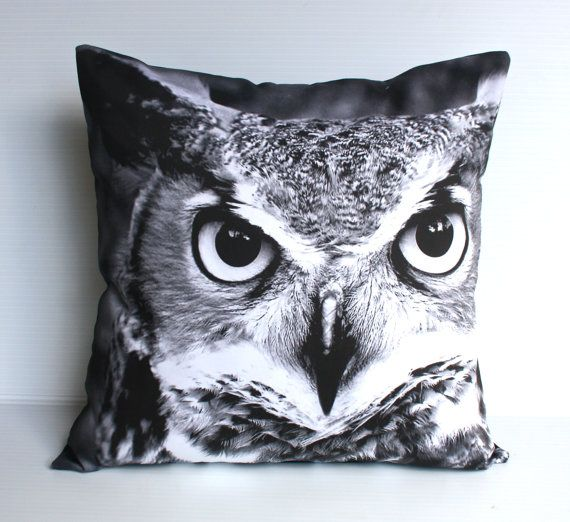 OWL cushion woodland decorative pillow eco by mybeardedpigeon, $49.00