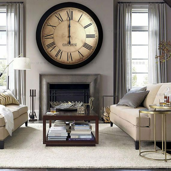 Father S Day Gift 36in Whiting Distressed Large Wall Extra Large Wall Clock Kitchen Cabinet Storage Solutions Large Round Wall Clock