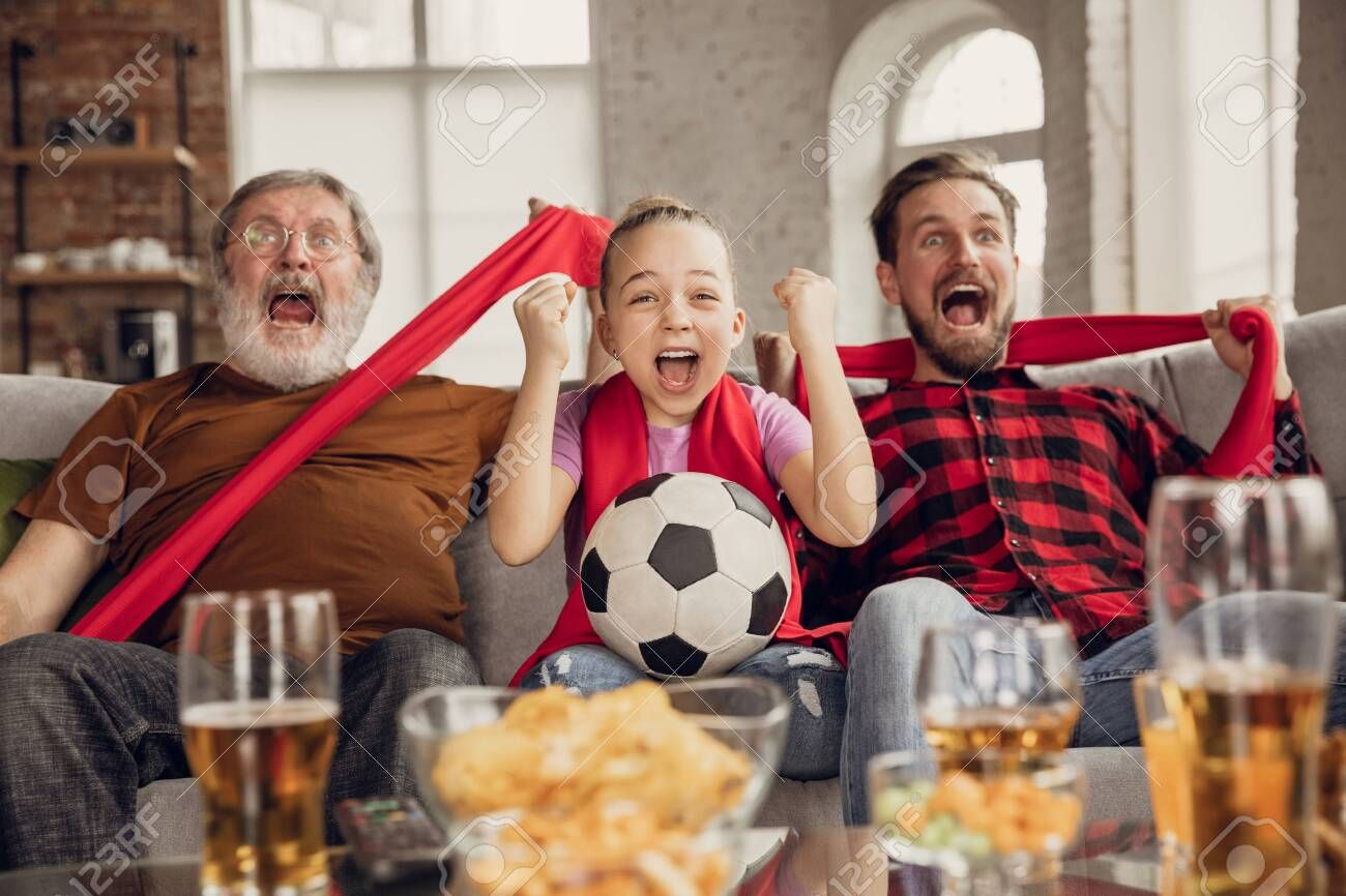 Excited Happy Big Family Watching Football Soccer Match On The Couch At Home Fans Emotional Cheering For Favourite National In 2020 Soccer Match Big Family Have Fun