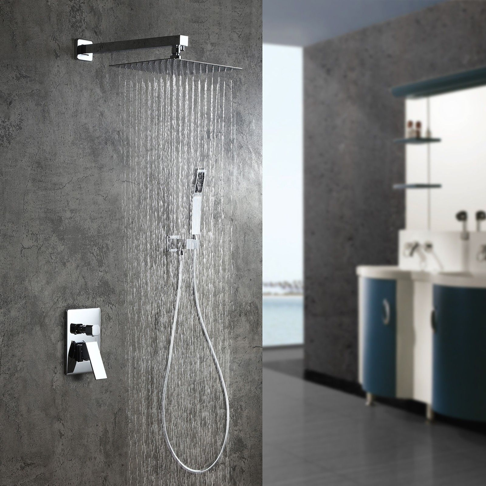 Modern Ultra Thin Rain Showerhead Dual Function Wall Mounted Shower System With Handheld Shower Pressure Balance Valve Polished Chrome Shower Systems Rain Shower Head Shower Heads