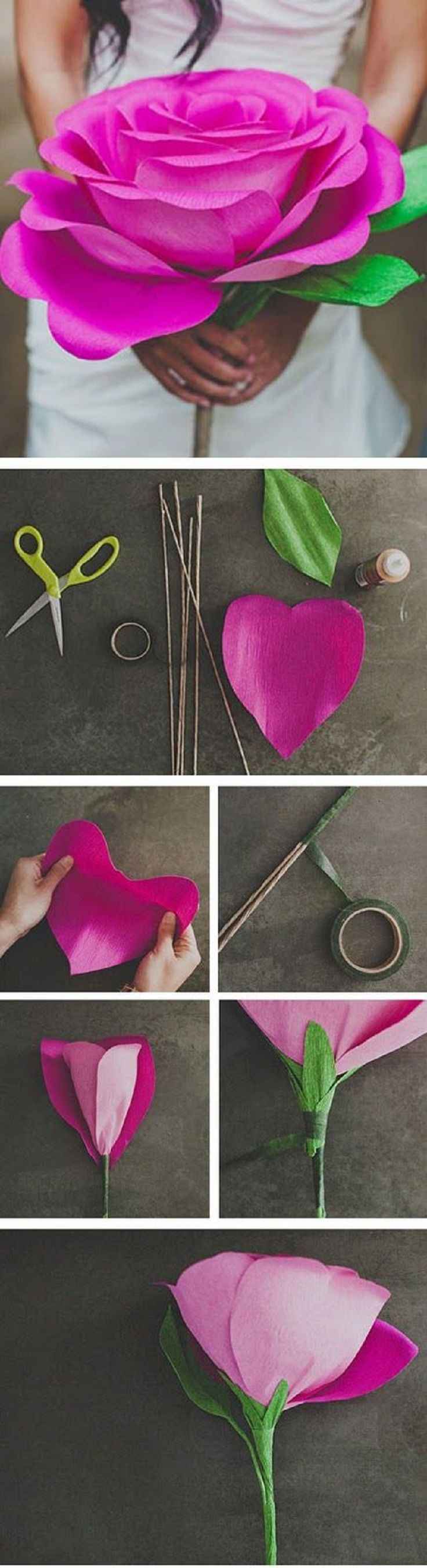 DIY Giant Paper Rose Flower  Diy paper Flowers and Craft