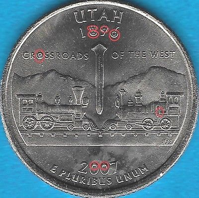 Error Errorcoins 2007 P Utah State Quarter Error Coin Reverse Obverse 12 Die Chips Uncirc State Quarters Old Coins Error Coins