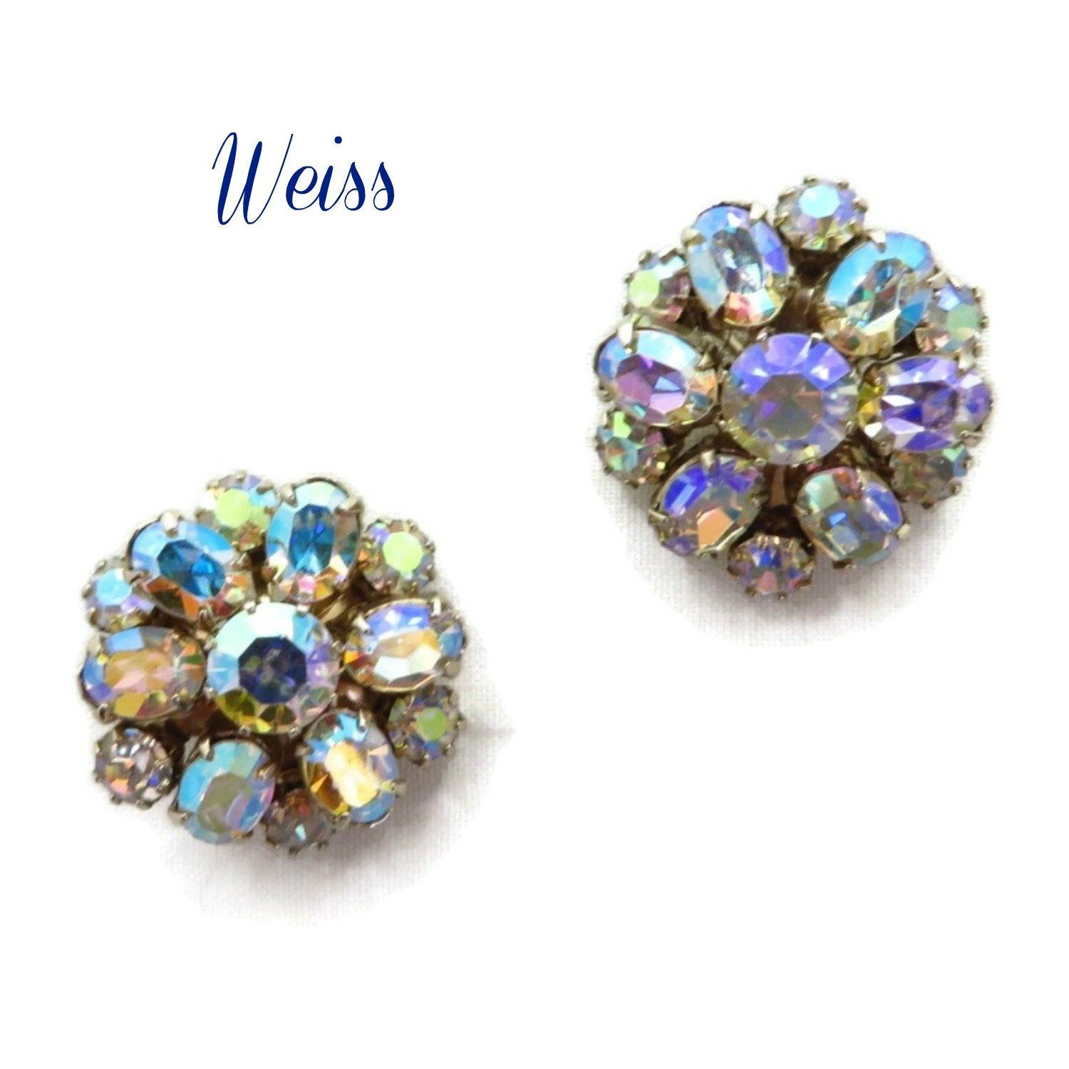 3f62eac54a53a Weiss AB Rhinestone Cluster Earrings - Vintage Clip-on Earrings in ...
