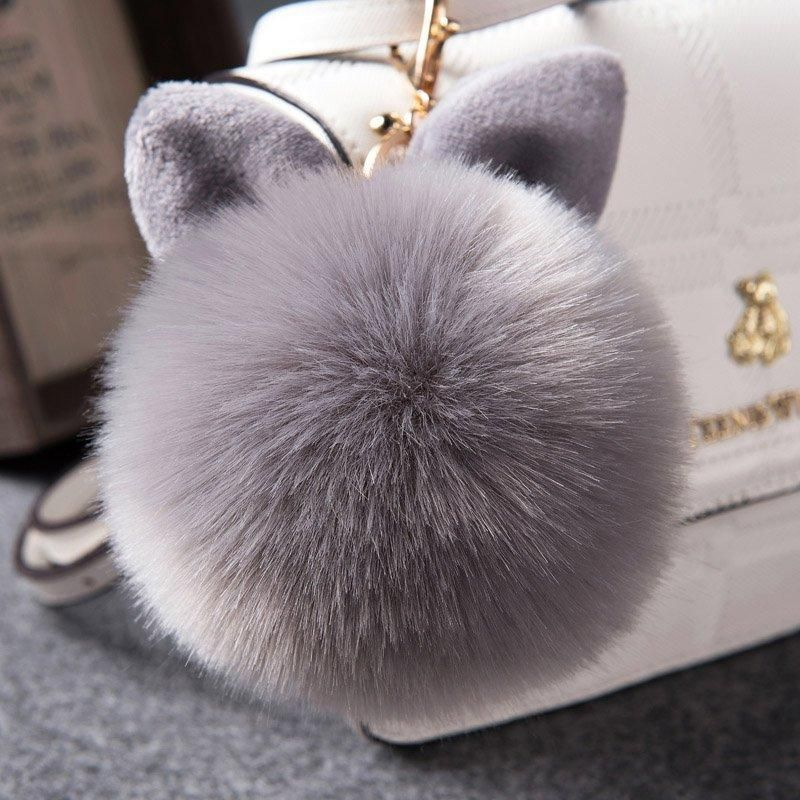 Fluffy Bunny Keychain - Gray