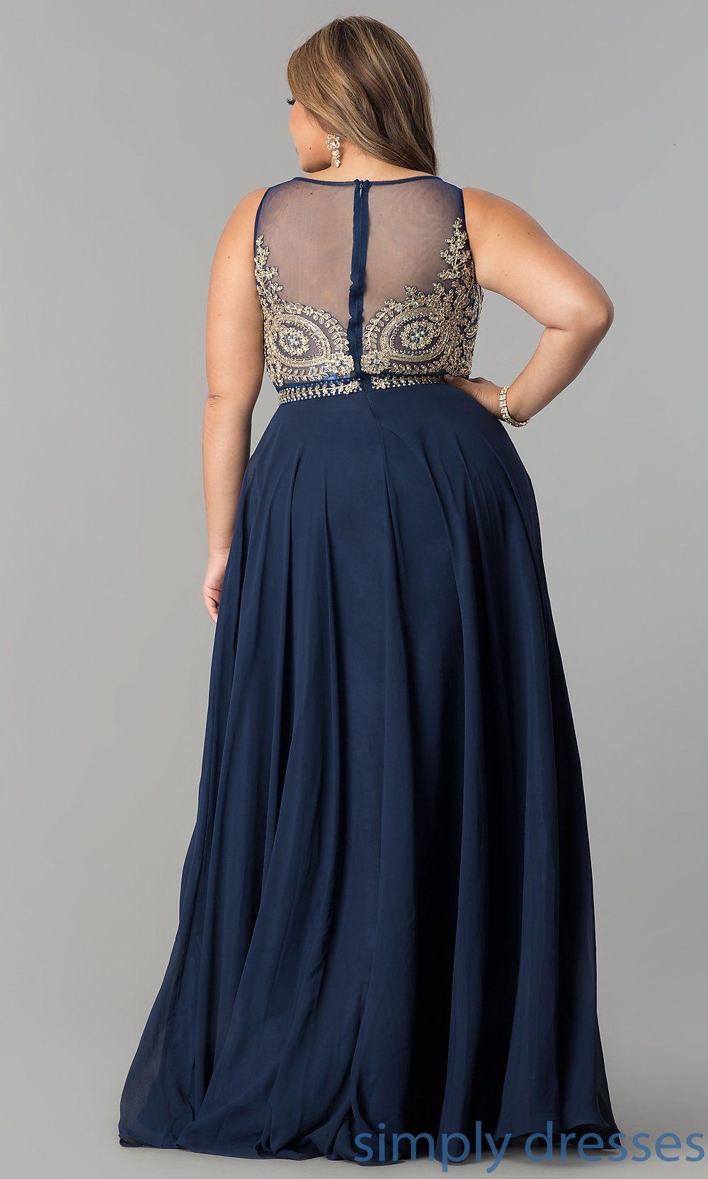 Plus-Size Mock Two-Piece Long Chiffon Gown in 2019 | plus ...