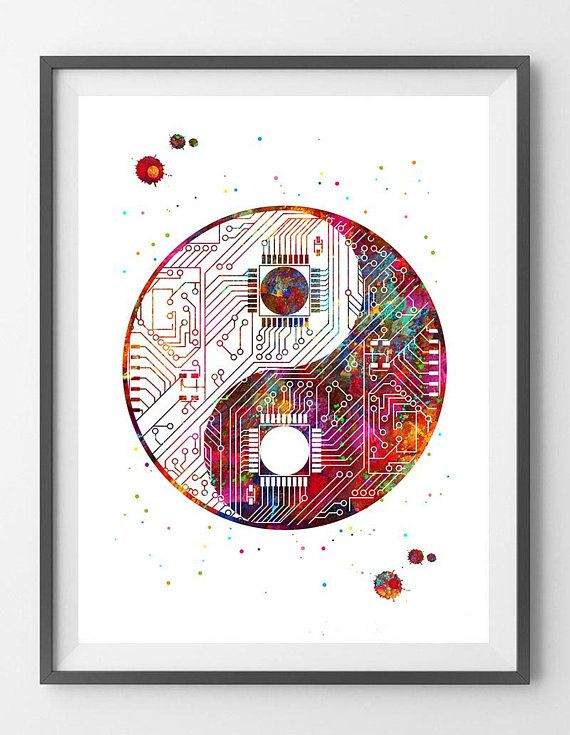 Yin Yang Circuit Board Art Print Abstract Tech Computer Art Poster