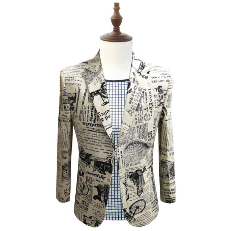 b4cc04a77c7 Newspaper Print Blazer Slim Fit Prom Party Club Blazer Men Suit Jacket DJ  Host Stage Wedding Designer Cotton Blazer Homme 5xl Review