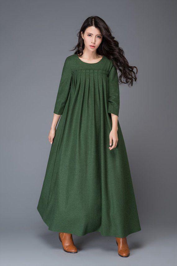 564b68836560 Robe verte robe en laine robe dhiver robe maxi robe