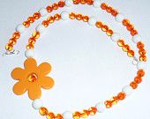White and Orange Large Plastic Flower Necklace Glass Beads Jewellery Summertime Kawaii