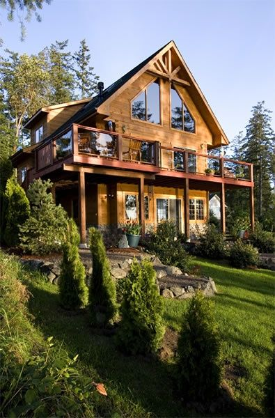 I bet this cabin has amazing views Log homes exterior