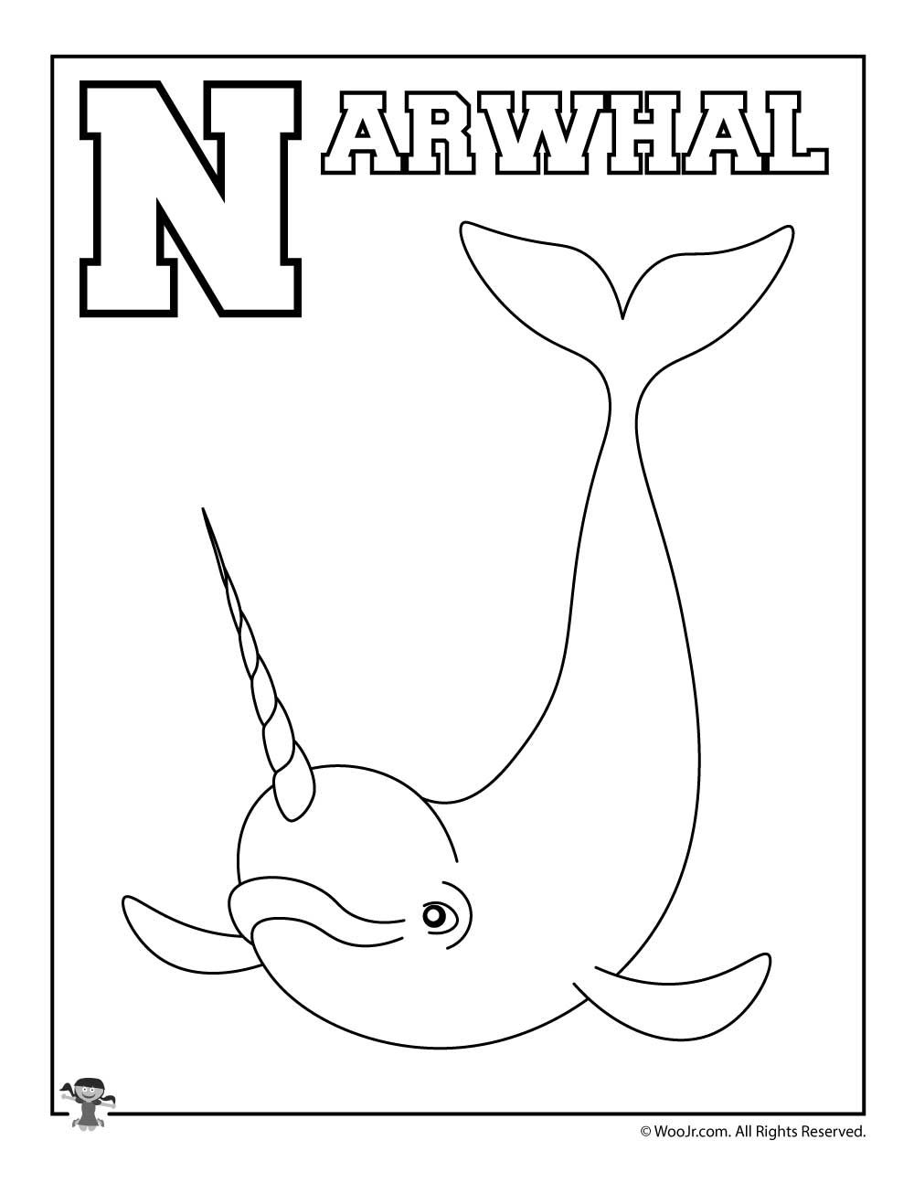 Alphabet Coloring Pages Set A Z Woo Jr Kids Activities Alphabet Coloring Pages Preschool Coloring Pages Narwhal