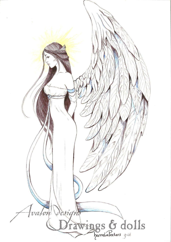 Ange Gardien Protecteur Tatouage bleu ange gardien. tirage poster de fantasy par