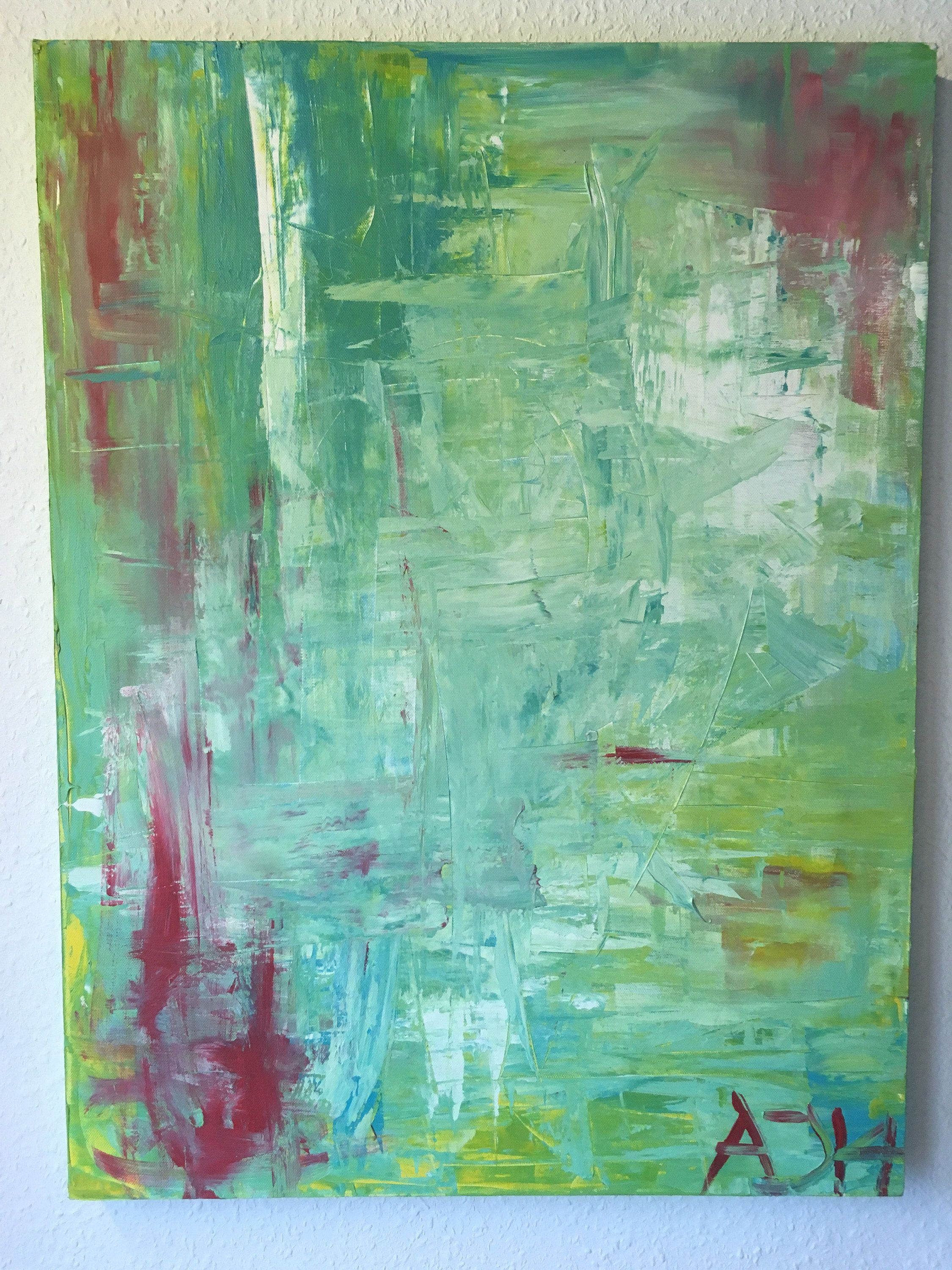 Abstract Painting Acrylic Painting Abstract Red Mint Green