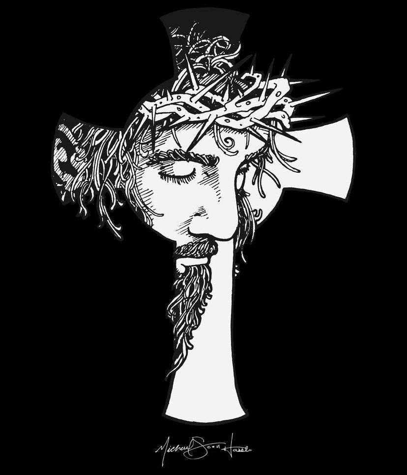 Cross Print Desing For T Shirts Jesus Cross On Black By