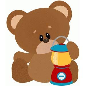 Camping bear. W lantern free svg