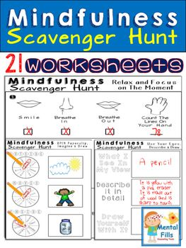 MINDFULNESS Scavenger Hunt Worksheets: For Relaxation and Calm ...
