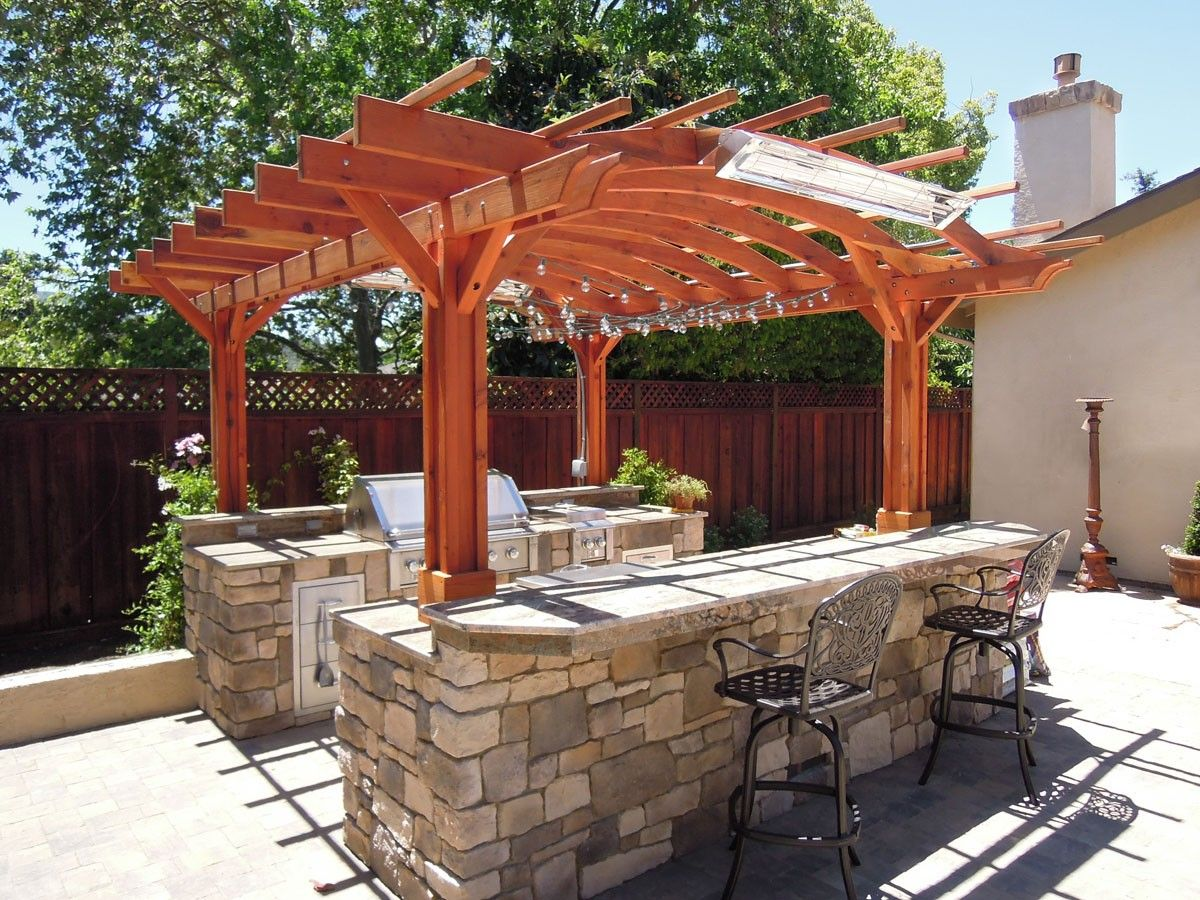 Enjoy Cooking Outside In A New Outdoor Stone Kitchen With Images Outdoor Pergola Wood Pergola Pergola