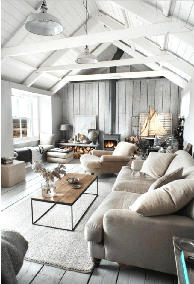 White Grey Barn House Living Room