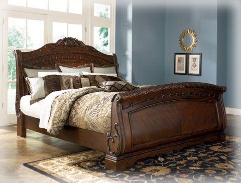 Ashley Furniture North Shore Dark Brown Queen Bed Sleigh Bedroom Set Bedroom Sets King Bedroom Sets