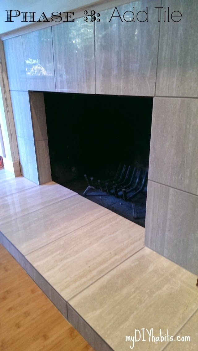 My diy habits den fireplace part 3 cover old brick with tile home improvement reface - Tile over brick fireplace ...
