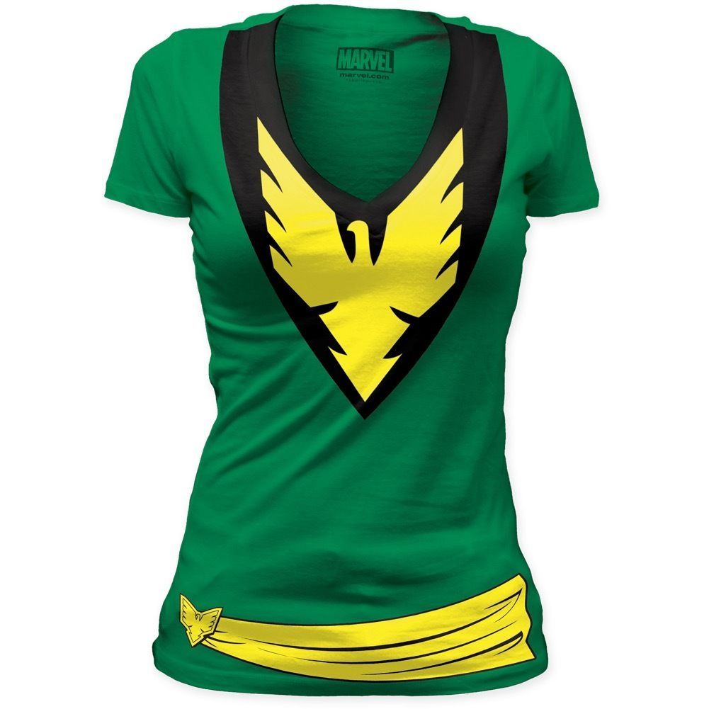 c692c3ee8 Authentic Marvel X-Men Jean Grey Phoenix Deep V-Neck Custom Ladies Jr T