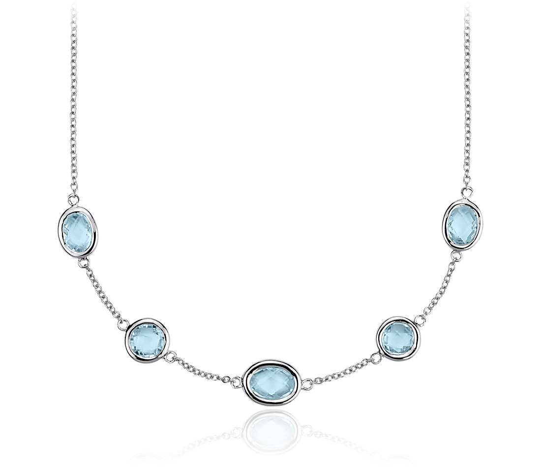 Your Something Blue! Sky Blue Topaz Stationed Necklace in Sterling Silver | #Wedding #Jewelry #Fashion