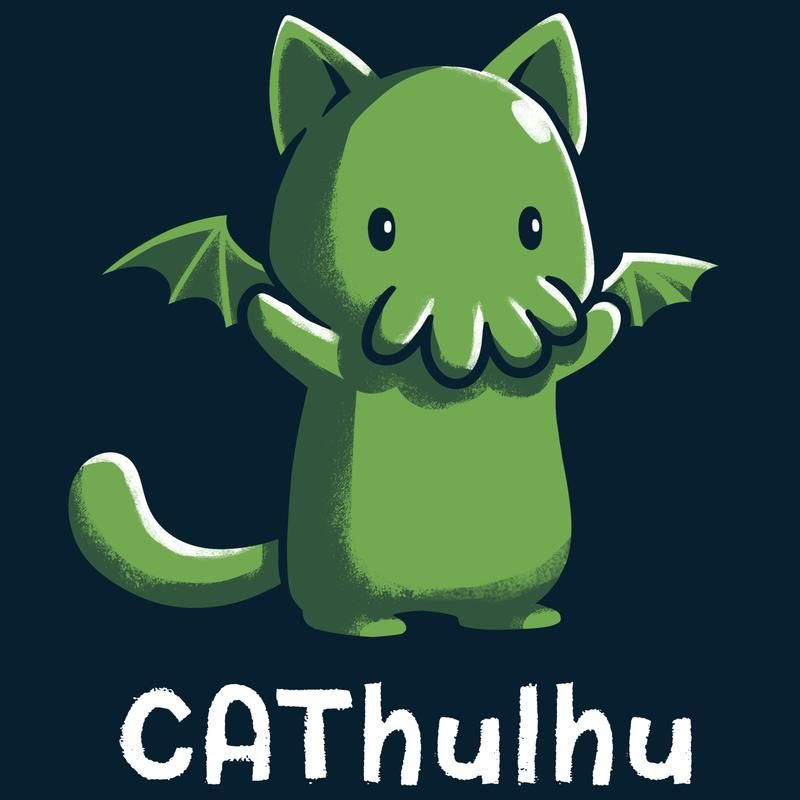 245b402e CAThulhu T-Shirt TeeTurtle black t-shirt featuring the green sea monster  Cthulhu in the form of a cat