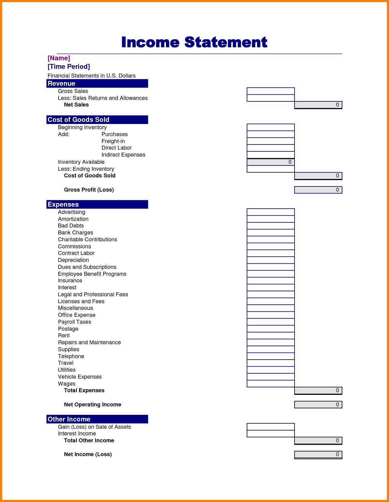 Unique Sample Personal Financial Statement Excel