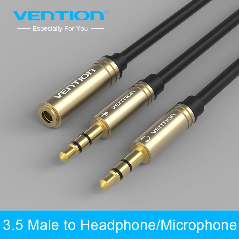 Vention 3 5mm Mic Audio Cable 1 Female To 2 Male Earphone Headphone Aux Splitter Cable For Pc Laptop Tablet Iphone Iphone Cable Headphone Splitter Audio Cable