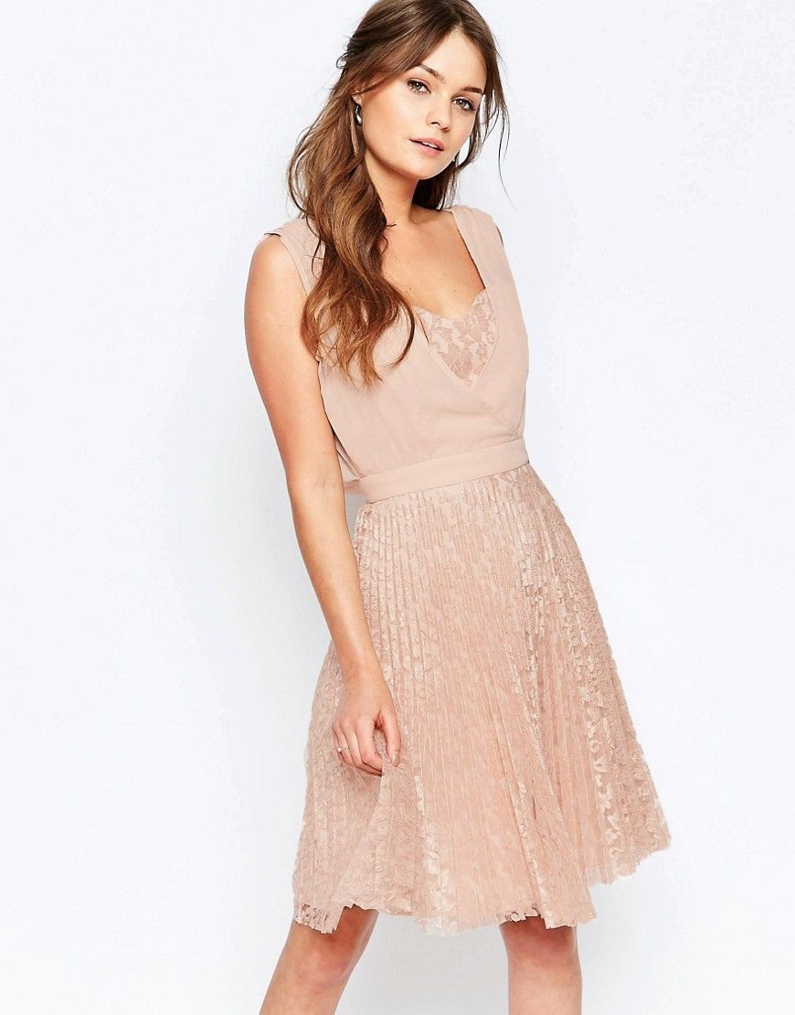 Too much cleavage wedding dress  Image  of Elise Ryan Pleated Skater Dress With Lace Skirt  LACE