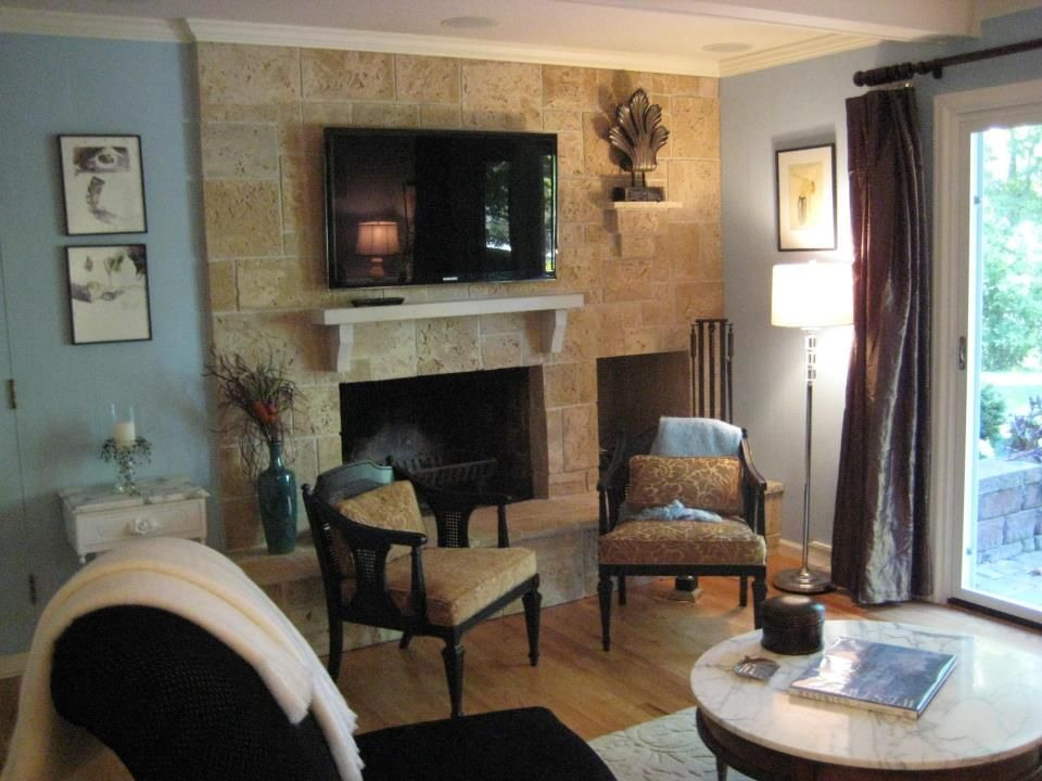 Beachy Stone Fireplace And White Wood Mantle White Crown