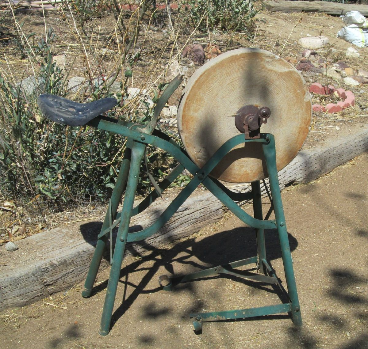 Antique R W Riding Pedal Grinding Wheel Sharpening Stone