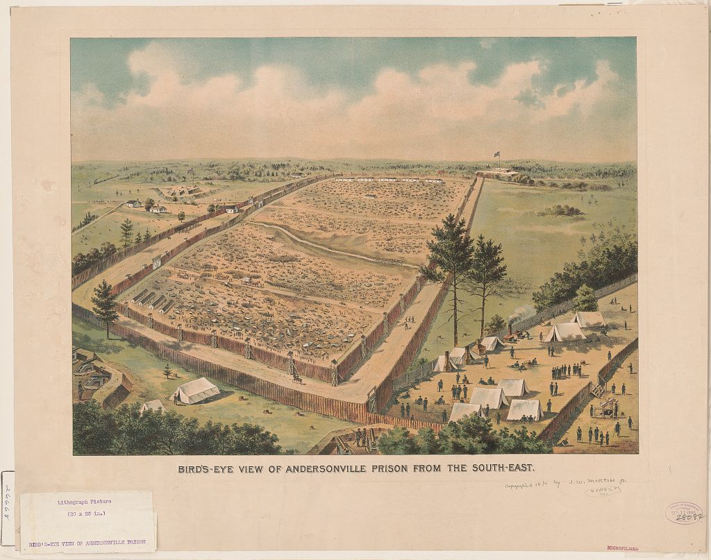 Bird's-eye view of Andersonville Prison from the south-east 1 print : lithograph, color. | Print showing Andersonville Prison, with the vast prison area surrounded by stockade fences and several banks of cannons in the foreground and the distance.