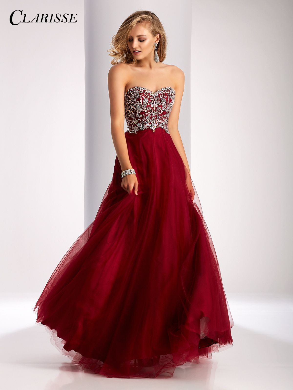 65f057de2f27a Clarisse 2017 prom dress style 3012. A classic strapless ball gown with a  sparkly bodice and lace up back. Available in four colors